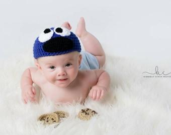 Crochet Cookie Monster Newborn Baby Photo Prop/Baby Shower Gifts/Infant Halloween Costumes/Crochet Beanie Hats/Photography Prop