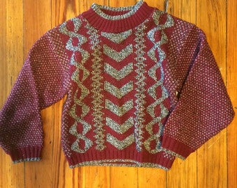fkvintage Child's Grey and Burgundy Sweater Size 3T