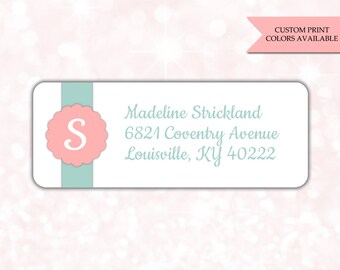 Return address labels (30) - Return address sticker - Adress labels - Address stickers - Monogram return address labels (AW007)
