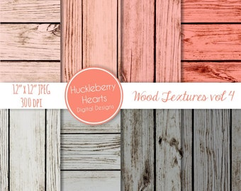 Coral and Gray Wood Backgrounds, Digital Scrapbook Paper, Digital Wood Paper, Digital Wood Textures