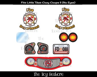 New Replacement Decals Stickers fits Little Tikes Tykes Cozy Coupe II (no eyes)  Ride On Fire Truck Mod