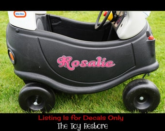 Custom Name Logo 1 : New Replacement Decals Stickers fits Little Tikes Tykes Cozy Coupe Car