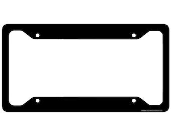 Black License Plate Frame, Black Car Tag Frame, Black License Plate Holder, Solid Black License Plate Frame-30-585