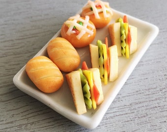 Miniature Sandwiches,Miniature Bakery,Miniature Sweet,Miniature Bread,Miniature Ham Sandwich,Miniature Food,Dollhouse Food,Miniature
