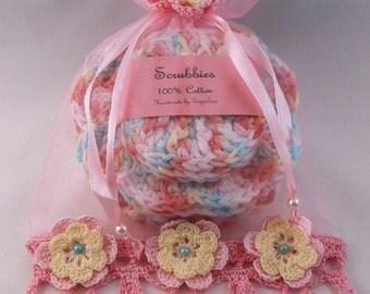 spa set,pink spa set, bath set, scrubbies, washcloth, soap saver, bath pouf, gift set, bath gift set