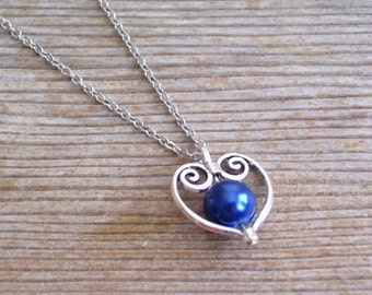 Filigree Silver Heart Pendant Necklace, Bridal Necklace, Dark Blue Pearl Bead Hearts, Bridal Jewelry, Silver and Blue, Heart Jewelry