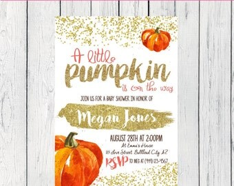 Little Pumpkin Baby Shower Invite-***Digital File***  (Baby-Pumpkinconfetti)