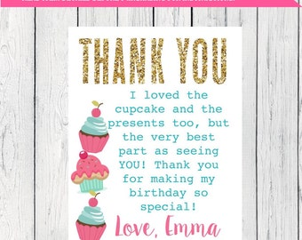 Cupcake Thank You Card Personalized  ***Digital File*** (Cupcake-WarPnkTeal Thx)