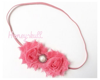Melon Pink Mini Shabby Flower Headband for All Ages- READY TO SHIP
