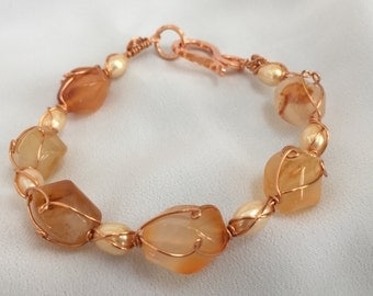 Carnelian and Pearl Wire Wrapped Bracelet - Handcrafted