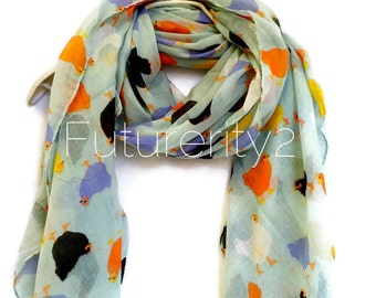 Chickens Mints Multicolour Spring Scarf / Summer Scarf / Gift For Her / Womens Scarves / Fashion Accessories