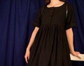 Alice Dress / Black Babydoll Dress / Smock dress / Scallop buttons / lolita smock dress 90s grunge dress / oversize dress /witch summer goth