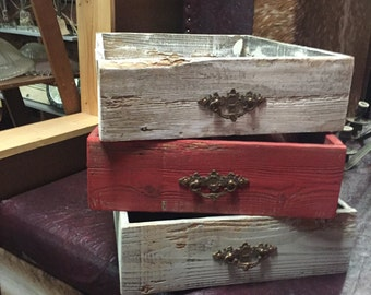 Shabby unique wood storage boxes