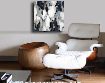 Black White,Canvas, Print, Giclee, Gallery Quality, Abstract,neutrals,white,navy blue,gray,canvas art,painting,square,abstract,painting