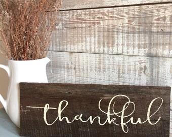 Fall decoration!! Rustic Thankful sign - Fall sign - handpainted on reclaimed wood -