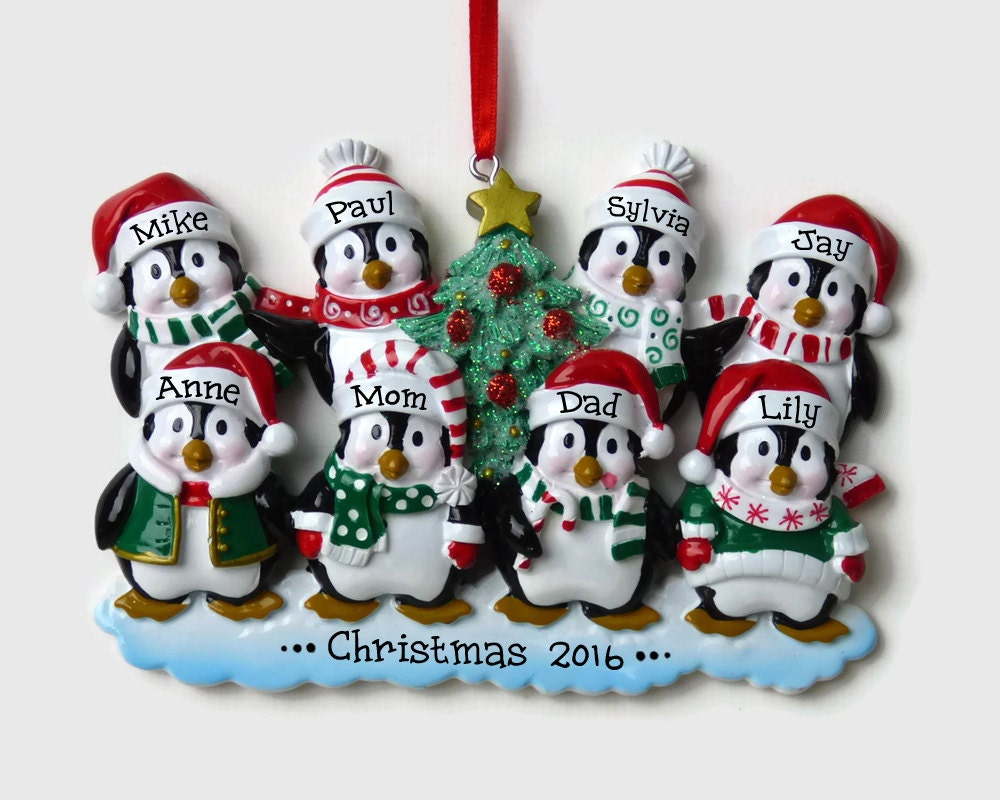 Dad christmas ornament - Ships Free 8 Penguin Family Personalized Ornament Family Of Eight Around The Christmas Tree