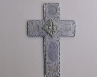 Unique Wall Cross with Celtic Symbols &  Fleur-de-Lis