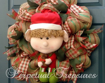 Christmas Elf Wreath ~ Whimsical Elf Wreath ~ Christmas Deco Mesh Wreath ~ Burlap Deco Mesh Wreath ~ Handmade Elf Wreath ~ Ready To Ship