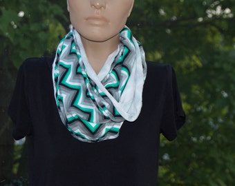 Green, Black, and White Chevron Infinity Scarf