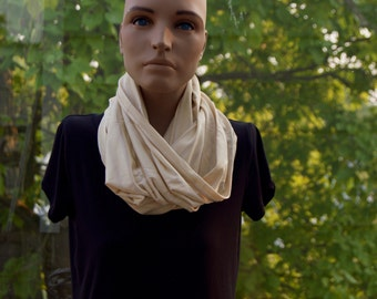 Cream Striped Infinity Scarf