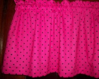 Hot Pink Black Polka-Dot mickey minnie mouse hello kitty curtain topper Valance