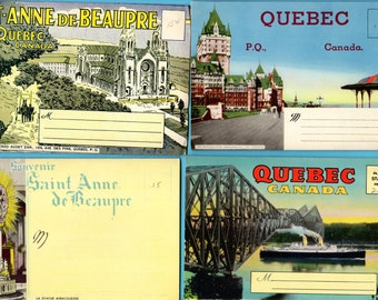 Vintage Lot Quebec Canada St Anne De Beaupre Basilica Foldout Souvenir Postcard Booklets Lot Unused 68 Views