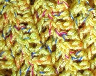 """Lemon Fizz Ripple Blanket 32"""" x 45"""" Hand Crochet Lap Afghan, Chevron Baby Blanket, Golden Lemon Toddler Blanket, Variegated Rainbow Strand"""