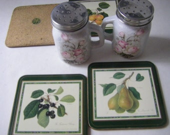 SIX piece grouping - 4 vintage PIMPERNEL hardboard coasters  w/ OOAK  S&P shakers decoupaged