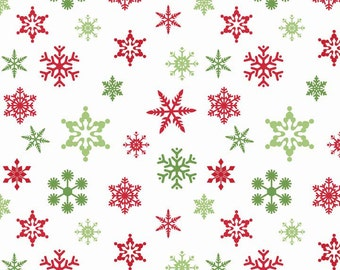 Holiday Snowflakes on White by Riley Blake Designs, Christmas Fabric, Holiday Print 6537