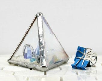 White Glass Paperweight, Glass Library Decor, Colored Glass Office Accessory,Coastal Beach Decor, White Pyramid, Sea Decor, Ocean Home Decor