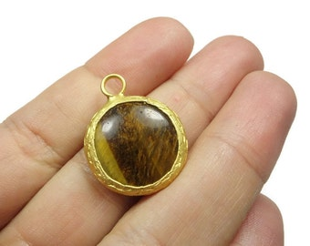 Tigereye Gemstone Pendant- 25 mm 24k Gold Plated Bezel Charm Pendant - GS094