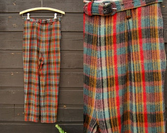 50s High Waisted Pants 24 25 Waist Tapered Plaid Pants 60s Mod Wool Plaid Trousers, Rainbow Plaid Wool Pants, High Waist Skinny Belted Pants