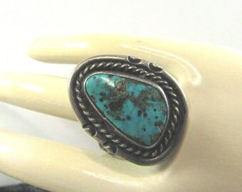 Old Pawn Turquoise Sterling Silver Ring Sz 9