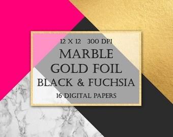 Marble & Gold Foil Digital Paper - fuchsia, luxury, gold, geometric, triangles, modern backgrounds, scrapbooking, wedding invitations, blog