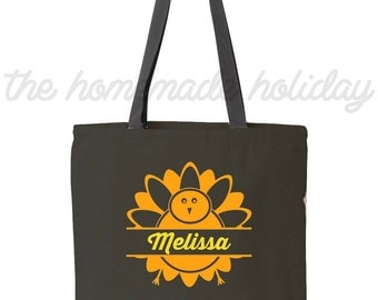 Personalized Thanksgiving tote bag- Turkey day tote bag! Light weight canvas thanksgiving bag!