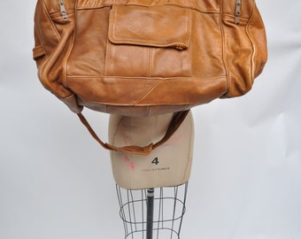 vintage leather bag CARRY ON weekender luggage suitcase travel duffel duffle tote LARGE