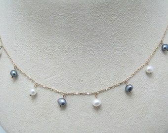 Pretty White & Black Freshwater Pearl Necklace in 10 k Yellow Gold