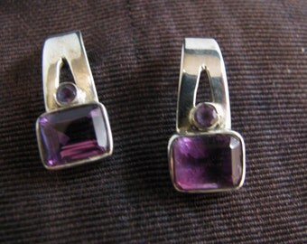 Beautiful Sterling Silver Long Post Earrings with Purple Stones