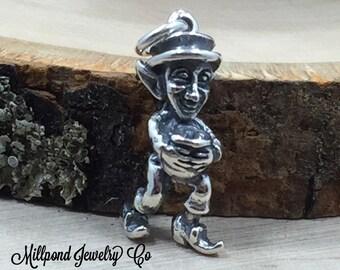 Leprechaun Charm, Irish Charm, Luck of the Irish Charm, Lucky Charm, Sterling Silver Charm, PS3174