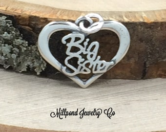 Big Sister Heart Charm, Big Sister Heart Pendant, Big Sister Script Charm, Sterling Silver Charm, Word Charms, PS3133