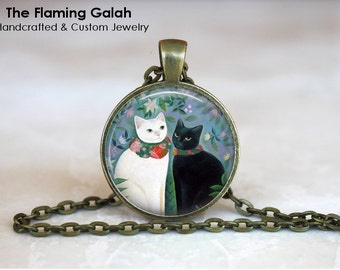 BLACK and WHITE CAT Pendant •  Cute Cat •  Black and White Kitten •  Gift for Cat Lover • Gift Under 20 • Made in Australia (P0099)