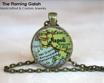 NAPLES Map Pendant. Napoli Key Ring. Vintage Map Necklace. Map Jewelry. Silver/Bronze Pendant. Gift Under 20. Handcrafted Australia (P0483)