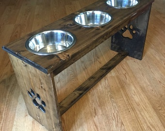 "6""-21"" Raised Dog Feeder - You Choose the Height, Bowl Size, and Finish.   Elevated Feeding Station."