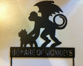 Beware of Monkeys Garden Stake Halloween Stake Beware of Monkeys