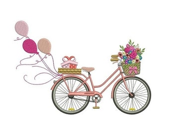 Bicycle with Flowers and Balloons Filled Machine Embroidery Digitized Design Pattern  - Instant Download - 4x4 , 5x7, and 6x10 -hoops