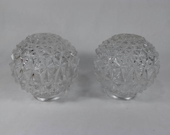 Pair of art deco clear glass ball light globes vintage
