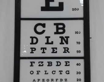 RARE Vintage white milk glass eye chart optemetry doctor optometrist antique vision