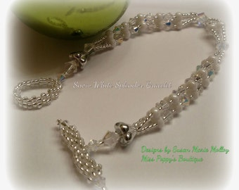 TUTORIAL - Snow White Splendor Beaded Czech Glass Trinity Beads Modern Bracelet - Digital Download Tutorial