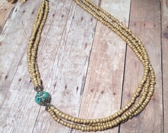 Multi Strand Beaded Asymmetrical Statement Necklace - Silvery-Gold, Turquoise Blue, Silver