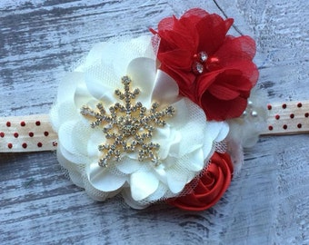 READY TO SHIP. Red and Ivory Snowflake Christmas Headband.  Baby's 1st Christmas Headband.